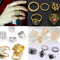 Women's Boho Antique Silver Gold Opal Mid Finger Knuckle Rings Set Vintage sale