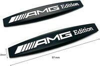 2 x AMG EDITION (BLACK & WHITE) Metal Side Wing Fender Badge Emblem Stickers