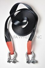 """2"""" 4 TON Tow Strap 60ft w Bow Shackles winch sling snatch recovery free shipping"""