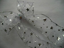 1 mtr 63mm WIRED CHRISTMAS RIBBON SHEER WITH GOLD & SILVER STARS,TREE,GIFT,BOWS