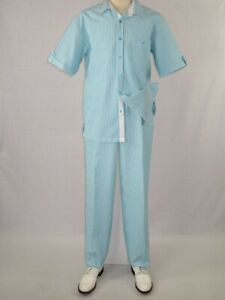 Men Giorgio Inserti By Inserch Walking Leisure Suit 2pc Seer Sucker 7287 Aqua