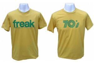 Mens Vintage Manga Retro Freak Soul Funk 70s 70's Yellow Funny T-shirt Large