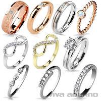 Damen Ring Band Ring Fingerring Verlobungsring Edelstahl Ring Messing Ring RS57