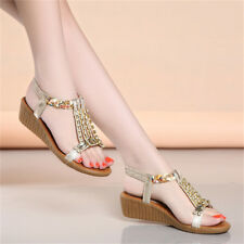 Summer Women Bohemia Diamond Flip Flop Sandals Flat Beach Thong Slipper Shoes