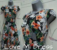 Wallis-WW2 Jahre durchzuführen Style Blumenmuster Tee Kleid SZ 10 EU38