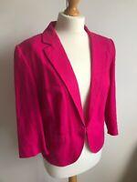M&S Bright Pink Linen Mix Blazer Jacket 16 Summer Holiday