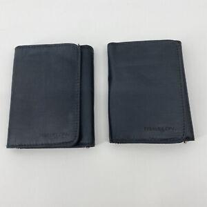 Travelon Tri-fold Wallet Set Of 2 Dark Blue Nylon Zip Pocket Billfold