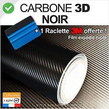 film vinyle carbone 3D noir covering thermoformable 152cm x90cm + Raclette 3M