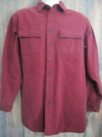 LL BEAN Vtg Chamois Flannel Dark Red Button Up Long Sleeve Shirt Mens L Tall