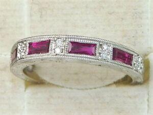 KIRK KARA 18K White Gold Ruby Engraved Diamond Wedding Band-Size 5