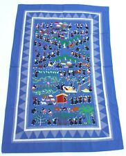 "Large Scale Hmong Embroidered Folk Story Cloth, Village Scenes (34.5""x53"")"