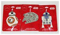 Hallmark Star Wars Flat Metal Ornaments Set of 3 BB8 Millenium Falcon R2-D2 NEW