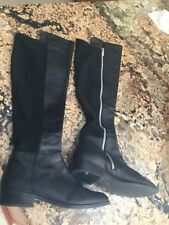 Michael Kors black leather and stretch boots silver zipper size 6.5