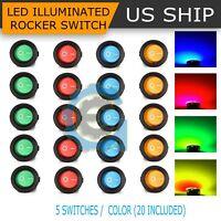 20PCS Led Dot Light 12V Car Auto Boat Round Rocker ON/OFF Toggle SPST Switch New