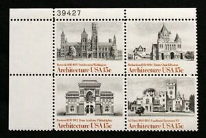 US Plate Blocks Stamps #1838-41~ 1980 ARCHITECTURE 15c Plate Block of 4 MNH
