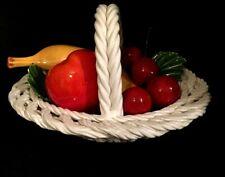 ITALIAN PORCELAIN MIXED FRUIT BASKET HOME DECOR COLLECTORS VINTAGE