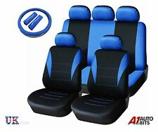 Auto Universal Car Blue Seat Cover Set & Steering Wheel Cover & Seat Belt Pads