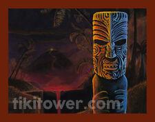 LAVA FALLS Maori Tiki Art Lowbrow Pop Polynesian Tiki Bar Volcano Print