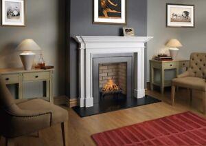 "White Limestone Fireplace Surround, 60"" Blenheim Mantel"