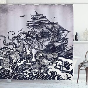 Dark Blue Ink Drawing Pirate Ship Octopus Nautical Beach House Shower Curtain