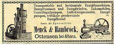 Dampfmaschinen - Kessel - Pumpen Menck & Hambrock Ottensen / Altona Reklame 1879