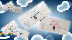 Personalised Wishing Bracelet Baby Shower Wish Baby Feet Mum To Be Girl Boy UK
