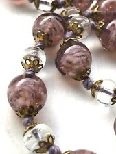 Gold Aventurine Glass Hand Knotted 1920s Vintage Art Deco Necklace Czech Pink