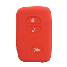 3 Buttons Red Silicone Key Fob Case Cover Holder Skin Case fit for Toyota