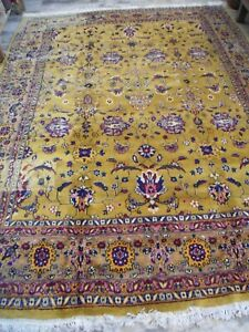 vintage green all over rug carpet indopersian tabrizz handknotted  8x11