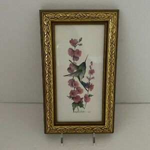 Vintage Carolyn Shores Wright 1995 Hummingbird Framed Print Gold Frame
