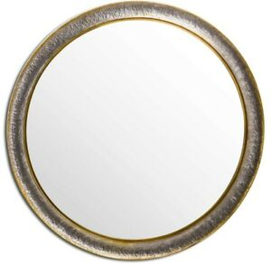 EXTRA LARGE SILVER AND BRONZE WALL MIRROR 120CM
