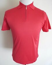 $595 BRIONI Slim Fit Brushed Cotton Coral Color 1/2 Zip T-Shirt Shirt Size Small