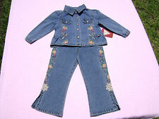 guess baby girls size 24 months 2 piece outfit jacket euc jeans nwt embroidery