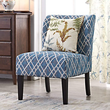 [PACK OF 2] Modern Accent Blue Floral Stripes Kitchen Living Room Armless Chair