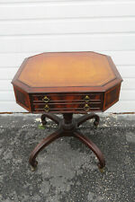Mahogany Leather Top Center Side End Table 1348