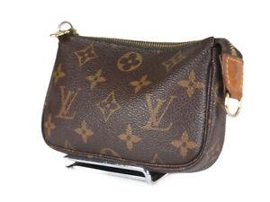 LOUIS VUITTON Mini Pochette Accessoires Monogram Canvas Leather Hand Bag LP4660