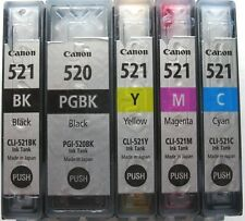 5x Genuine Canon Refilled PGI-520 & CLI-521 Carts, MX868, MX860, MP545, IP4600..