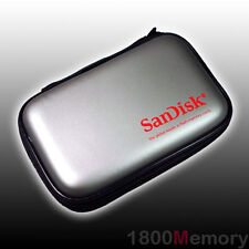 GENUINE SanDisk Large Memory Card Case holds 14x CF 21x SD SDHC +KeyChain Silver