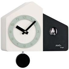 AMS Quarz Horloge Murale Horloge Pendule Coucou Boîtier en bois blanc-noir Neuf