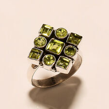 5.60 Gm Natural Peridot Ring Gemstone 925 Solid Sterling Silver Ring Size 9 i974