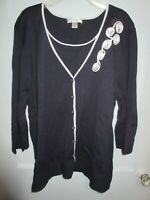 CJ Banks 3X Navy Blue 2fer Sweater Pullover Cardigan Rolled Florettes