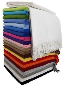 Baumwolldecke Wohndecke Kuscheldecke Plaid 140 x 170 cm 100% Baumwolle Rio weiß