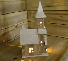 Christmas Decoration - Indoor 40cm LED Light up Wooden Chapel W Snow & Steeple