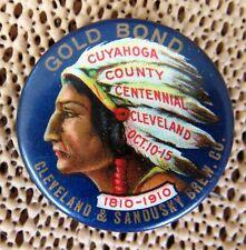 1910 Gold Bond Beer Cuyahoga Centennial Native American Indian Pin Back Button
