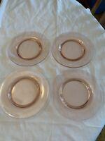 """Vintage Pink Depression 8 1/2"""" Plates Set Of 4"""
