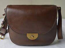 Fossil Emi Brown Leather Saddle Crossbody Messenger Bag