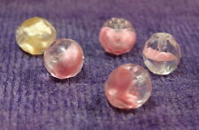 SWIRL ART Vintage Glass Beads, 4 Pink & 1 Yellow, Round Faceted Translucent 9mm