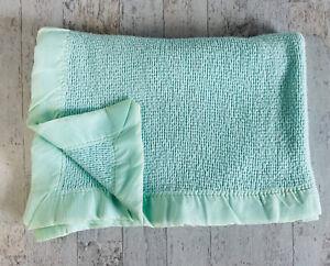 Vintage Baby Morgan? ACRYLIC Blue Green Blanket Thermal Waffle Weave Satin Trim