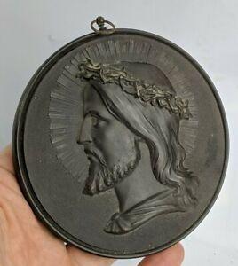 Antique Vulcanite / Gutta Percha Icon Jesus Christ Christianity - Victorian FINE