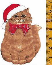 XMAS CAT~IRON FABRIC APPLIQUE/TRANSFER~NO SEWING REQUIRED